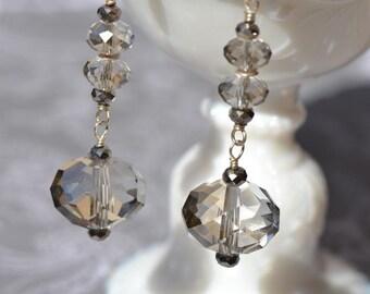 fatdog Earrings - E21 Silver-Gray Crystal Dangles