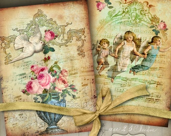 Printable Download HEAVENLY MUSIC No.2 Greeting Cards Digital Collage Sheet, 5x7 inch size images, print-it-yourself Vintage diary cover