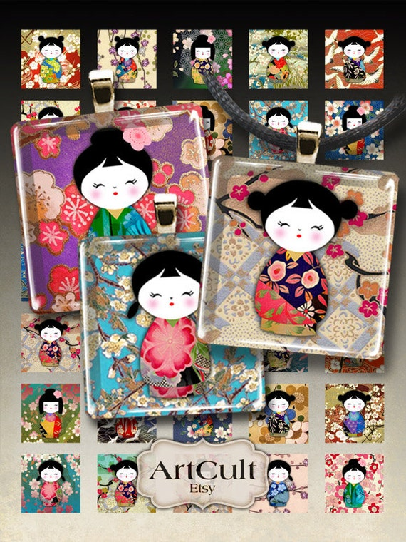 1x1 inch (25x25mm) and 7/8x7/8 inch WASHI DOLLS Kokeshi images Digital Collage Sheet Printable Download for glass or resin pendants magnets
