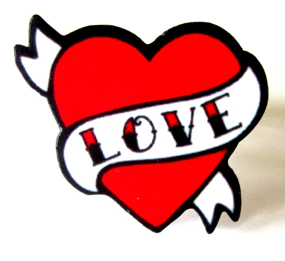 Items similar to Tattoo Style Love Heart with Scroll ...