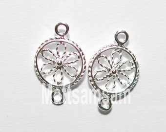 2 x 925 sterling silver flower connector 10mmx15mm (12163cntr)