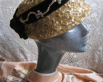 Vintage golden raffia summer hat, natural woven hat brown velvet ribbon bucket hat, netted tiny bead detail size 22 MINT
