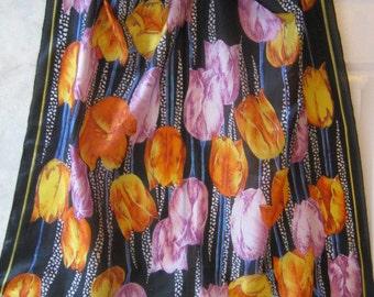 Vintage large square multi tulips pattern silk scarf, tulips print multi color silk scarf, yellow orange lavender tulips flowers big scarf