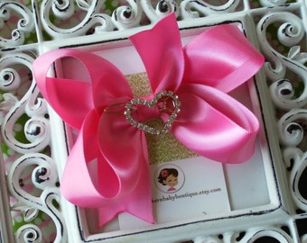 NEW ITEM----Mini Boutique Satin Hair Bow Clip with Rhinestone HEART Clip-----You Pick Color---