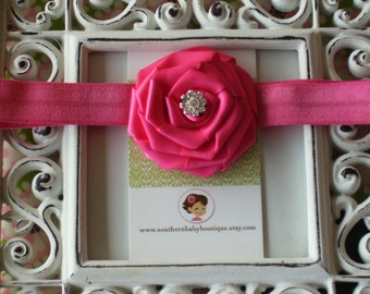 NEW ITEM----Boutique Baby Girl Headband with Satin Rose------Hot Pink