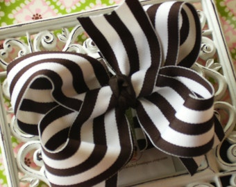 NEW ITEM----Big Boutique Doubled Layered Hair Bow Clip------Big Brown and White Stripes----