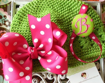 NEW ITEM----Boutique Baby Hat and Monogrammed Pacifier Holder---Shocking Pink and Lime---You Pick Letter