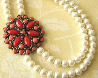 Bridal Jewelry Statement Necklace Red Coral Jewelry Wedding Necklace Bridesmaid Jewelry Pearl Necklace Wedding Jewelry