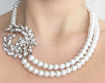 Wedding Necklace Bridal Jewelry Wedding Jewelry Statement Necklace Rhinestone Necklace Pearl Jewelry by Zafirenia