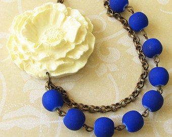 Statement Necklace Navy Blue Jewelry Flower Necklace Bridesmaid Jewelry Bib Necklace Gift For Her