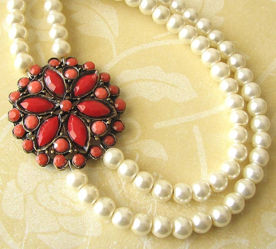 Statement Necklace Red Coral Jewelry Wedding Necklace Bridesmaid Jewelry Pearl Necklace Wedding Jewelry