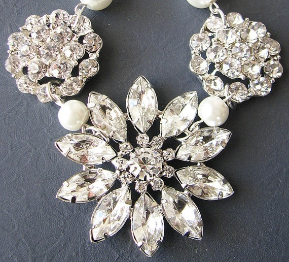 Bridal Necklace Wedding Jewelry Crystal Rhinestone Necklace Flower Necklace Statement Bridal Jewelry