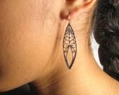 Silver filigree long dangling earrings- oxidized almond earrings.