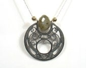 Silver filigree round shape pendant with gemstone bead and gold filled.