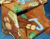 Custom Designed Jungle Monkey Wooden Step Stool