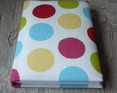 Polka Dot Fabric Covered A6 Notebook. Padded Cover, 192 lined pages.
