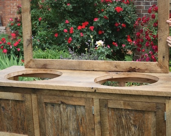 YOUR Custom Made Barn Wood Double Vanity, Cabinet, or Entertainment Center with Doors or Drawers and a Shelf with FREEE SHIPPING- BWDV1075C