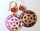 Etched Brass Earrings Pink and Purple