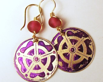 Etched Brass Earrings Pink and Purple - Free Domestic Shipping