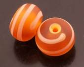 Sea Glass Lampwork Beads Handmade Etched Topaz Apricot Orange Spiral Line Rondelle Earring Pair Heather Behrendt BHV SRA LETeam