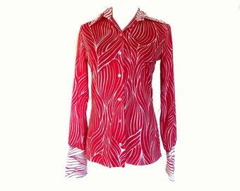 70s Nylon Shirt Blouse Sybil Red n White Jersey Polyester