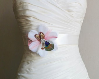 Ivory Coral Peacock and Pheasant Feather Bridal Sash - RIVIERA - Bridal or Bridesmaids Sash - Made to Order