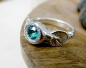 Sterling Silver Blue Topaz Ring. Unique Ring. OOAK Ring. Statement Ring. Fashion Ring. Right Hand Ring