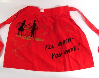 Vintage Apron 1950s You wash I'll wipe Deadstock Rhodes of Seattle Red Print