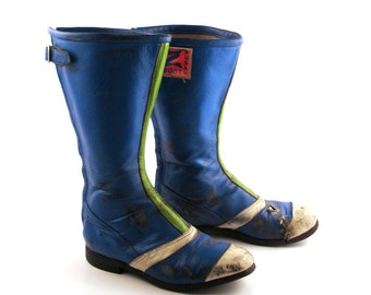 Motorcross Boots Motorcycle Vintage 1980s Z Blue Leather Men's