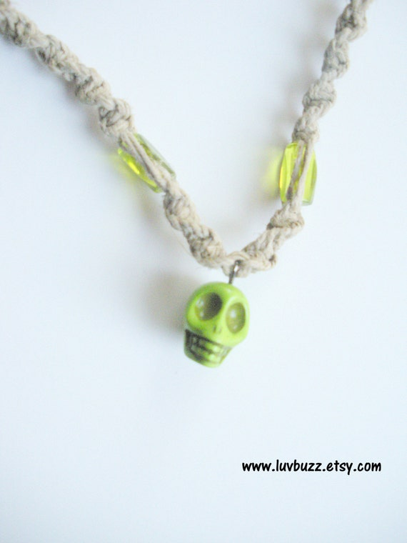 SALE Hemp Necklace with Skull Charm/Pendant, ready to ship.