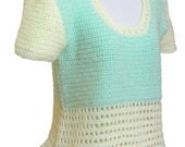 Womens Crochet Top, Mint Green and Yellow, Casual Top Size Small