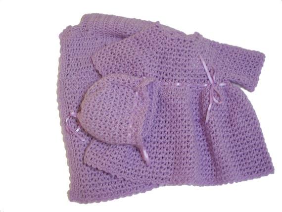 Baby Girl Dress Set, Lavender Dress Bonnet and Coat