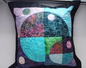 Quilted Pillow Cover Sham 14-inch - Planets & Moons Handmade