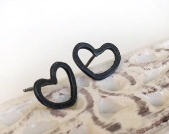 Black Heart Sterling silver post earrings - Valentine heart earrings