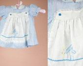 Baby Girl Vintage Apron Smocked Babydoll Dress 3-6M