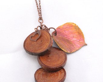 Layered Wood necklace with copper Dipped Leaf charm