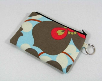 Lotus Morning Glory floral coin purse, credit card pouch with key ring