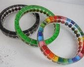 3 Custom Resin Bangle Bracelets - Colored Pencil, Teacher Gift, Upcycled, Artist, Crafter, Pencil, Rainbow, Multi Color