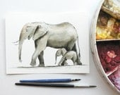 giclee print of an ink and watercolor painting of mother and baby elephants