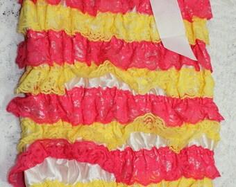 CLOSEOUT-Yellow & Hot Pink Lace Petti Romper with Matching Shabby Chic Headband Set-Petti Romper-Baby Headband-Shabby Flower Headband