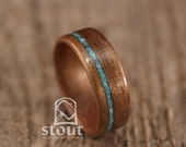 Walnut Bentwood Ring with Offset Turquoise Inlay - Handcrafted Wooden Ring