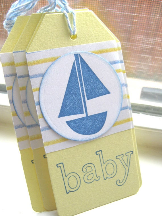 baby shower gift tags blue and yellow gift tags