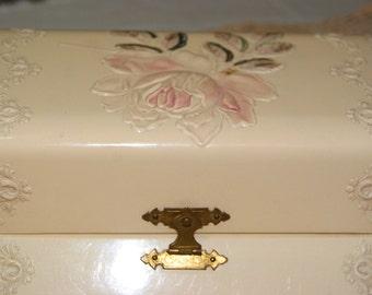 Celluloid box Embossed Dresser Box Victorian Velvet Vanity box