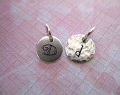 Sterling Silver Initial Monogram Charm Pendant, Stamped Add on Blank Disc, 7 or 8 mm, custom personalized alphabet letter - gemdone solo