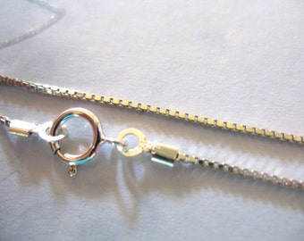 Finished Chain, 1 pc, 16 or 18 inch, Sterling Silver BOX CHAIN, 0.65 mm, wholesale, done, for beads pearls, d86.d solo