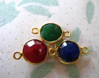 Shop Sale -Gemstone Connectors Links, Bezel Gem, Sapphire Ruby Emerald, u pick, 1 10 50 pcs, 15x9 mm, 24k Gold Vermeil,  gcl10