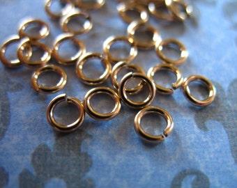 Shop Sale..14k Gold Filled Jump Rings Jumprings, OPEN, 10 pcs Bulk, 4 mm, 21 g gauge ga, for 1 2 mm dainty small..GFJR4mm.21 plain
