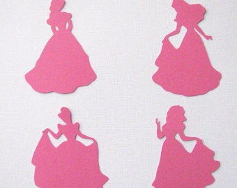 Princess diecuts in 4 different styles any color set of 8 embellishments