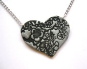 Silver Heart Pendant Necklace Asian Floral, Valentine's Day Jewelry by theshagbag on Etsy