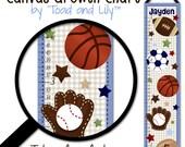 Canvas GROWTH CHART All Star Sports Boys Bedroom Kids Baby Nursery Wall Art GC0081